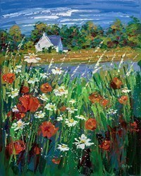 Wild Flowers in the Breeze, Ballancrieff by Lynn Rodgie -  sized 24x30 inches. Available from Whitewall Galleries